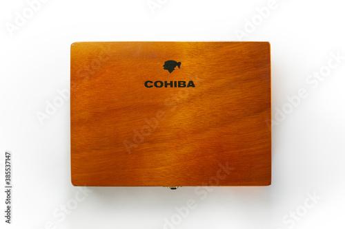 Bangkok, Thailand –August, 2020: Photo of a box of cigars Cohiba, Habana Cuba Esplendidos .Cohiba is a brand of premium cigar, produced in Cuba for Habanos S.A.