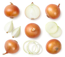 Whole And Sliced Onions Isolated On White Background. Top View.