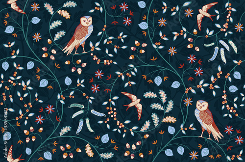 Vintage seamless fabric ornament with flowers and birds on dark blue background. Middle ages William Morris style. Vector illustration.