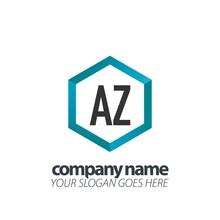 Initial Letter Az Hexagon Box Creative Logo Black And Blue