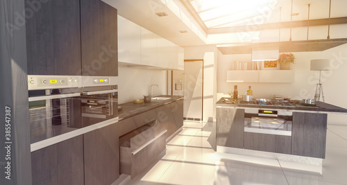 Cuadros en Lienzo Industrial style domestic kitchen with glass roof in slate gray