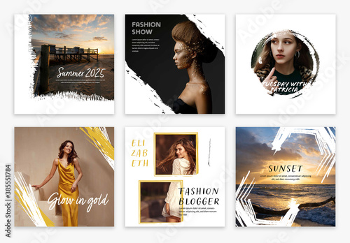Obraz Set of Social Media Post Layouts with Abstract Elements - fototapety do salonu