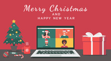Man And Woman Meeting Online Together Via Video Calling On A Laptop At The Office To Virtual Discussion On Christmas Holiday With Merry Christmas And Happy New Year Text, Vector Flat Illustration
