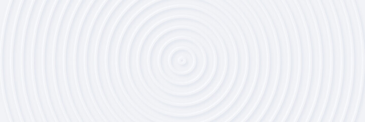 3d white rippled circles with soft shadow on light BG. Abstract light elegant seamless pattern. Neumorphism ui style. Minimal embossed paper wallpaper. Universal background for business presentation