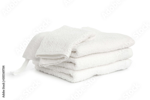 several white beach cotton towels folded on white background Wallpaper Mural