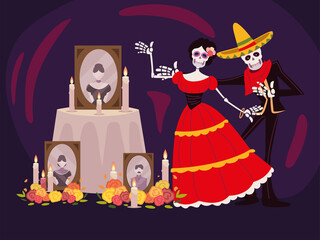 day of the dead, catrina skeleton altar with photos candles and flowers, mexican celebration