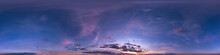 Seamless Dark Blue And Pink Sky Before Sunset Hdri Panorama 360 Degrees Angle View With Beautiful Clouds For Use In 3d Graphics Or Game Development As Sky Dome Or Edit Drone Shot