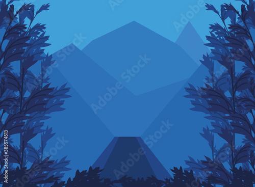 Fotografie, Obraz landscape rocky mountains peaks and forest vegetation