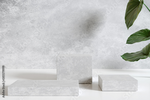Obraz White marble product display podium with nature leaves. 3D render - fototapety do salonu