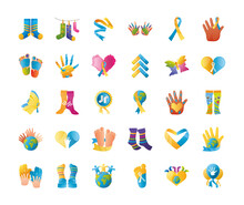 World Down Syndrome Day, Support Campaign Message Creativity Set Icons