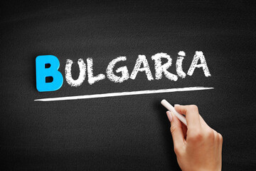 Bulgaria text on blackboard, concept background