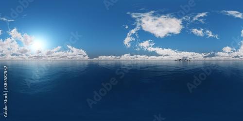 Fototapeta archipelago, sea bay, HDRI, environment map , Round panorama, spherical panorama, equidistant projection, 360 high resolution panorama  3d rendering,   obraz