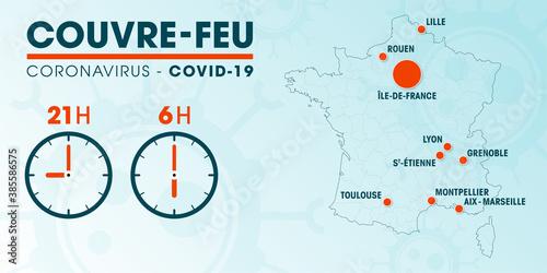 Carte de France du couvre-feu dans les grandes métropoles  - pandémie du coronavirus covid19 - déplacement interdit de 21h à 6h - illustration vectorielle