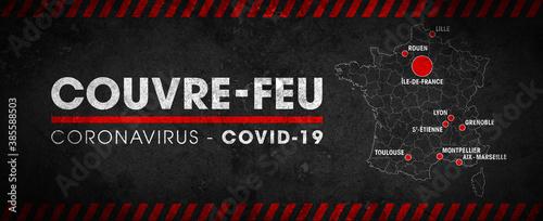 Carte de France du couvre-feu dans les grandes métropoles  - pandémie du coronavirus covid19 - déplacement interdit de 21h à 6h