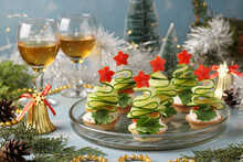 Festive Canapes In Shape Of Ch...