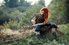 Sniper Girl In A Green Field. ...