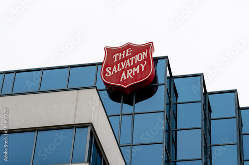 Toronto, Canada - October 12, 2020: The Salvation Army sign on the Territorial Headquarters building is shown in Toronto on October 12, 2020, an international Christian organization.