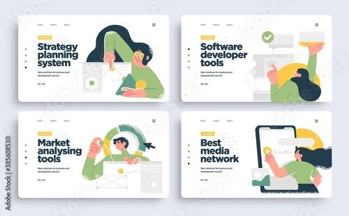 Fototapeta Set of Presentation slide templates or landing page websites design. Business concept illustrations. Modern flat style. obraz
