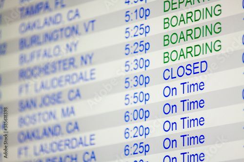 close up of the arrivals departures board at an airport Canvas