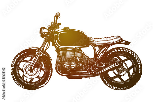 Slika na platnu Cafe racer motorcycle Vector illustration - Hand drawn