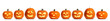 canvas print picture - Set of carved Halloween pumpkins on white background. Banner design