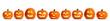 Leinwandbild Motiv Set of carved Halloween pumpkins on white background. Banner design