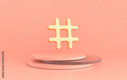 Obraz Hashtag search link symbol 3d rendering. Hash mark, user reply sign, hashtag, tag, comments thread mention, topic social media notification icon. - fototapety do salonu