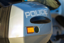 Close-up Shot Of Police Motorcycle