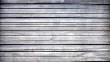 Metal Storefront Gate Painted Silver Grey