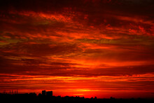 Red Sunset Over The City. Bl...