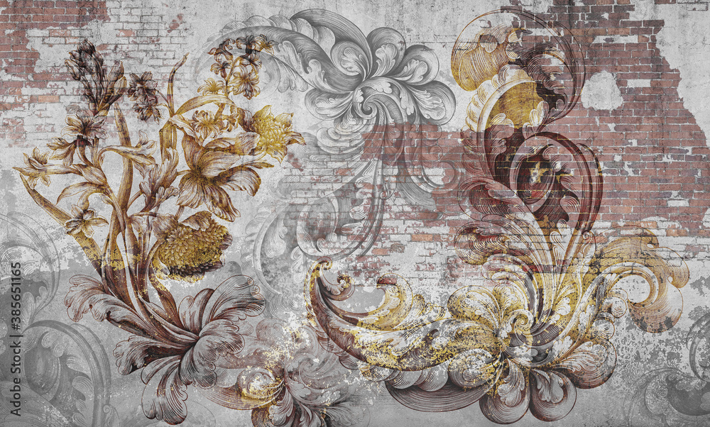 Wall mural, wallpaper, engraving on the wall, in the style of a loft. Flowers on a brick wall. Beautiful patterns on the wall. Mural design. Design loft, classic, modern.