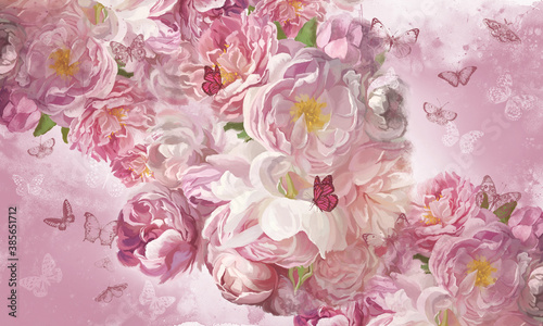 Murale ścienne  delicate-pink-flowers-painted-with-oil-paints-beautiful-card-postcard-picture-wallpaper-photo-wallpaper-mural-with-peonies-and-butterflies