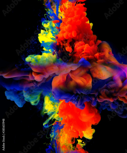 Okleiny na drzwi - Kolorowe - Wielobarwne  color-drops-in-water-abstract-color-mix-drop-of-ink-color-mix-paint-falling-on-water-colorful