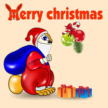 Vector Illustration Of Santa Bunny Carrying Christmas Gifts.