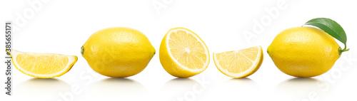 色々な形にカットされたレモンの素材