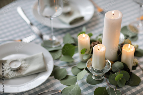 Beautiful table setting with Christmas decor Wallpaper Mural