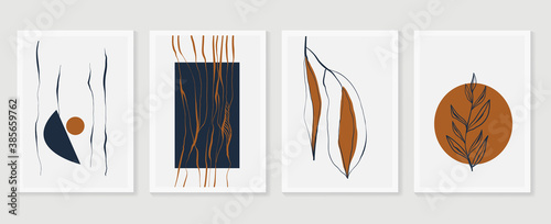 Obraz Botanical wall art vector set. Earth tone boho foliage line art drawing with  abstract shape.  Abstract Plant Art design for print, cover, wallpaper, Minimal and  natural wall art. - fototapety do salonu