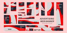 Vector Set Bundle Advertising Web Banners Standard Size . Geometric Background Illustration Design