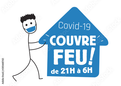 Obraz Couvre-feu, état d'urgence sanitaire, coronavirus - fototapety do salonu