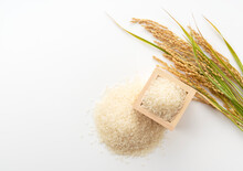White Rice, Masu And Ears Of Rice On A White Background