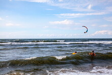 Kite Surfing In The Sea
