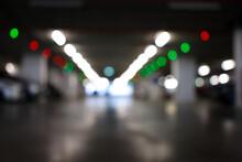 Car Park Guidance System Light Signal. Blurred.