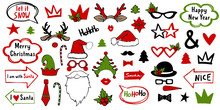 Christmas Holiday Photo Booth Props. Vector Xmas Masquerade Party Costume Accessories Collection. Noel Decoration With Fun Sign In Arrow And Bubble. Happy New Year Cartoon Illustration Card Elements.