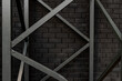 canvas print picture - black brick wall and metall concstruction - woundation of outdoors ledder. Abstract industrial background.