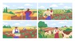 Set of horizontal banners with farmers picking crops, taking care of cows, making hay. People at farm vector flat illustration. Scenes with agricultural workers on farmland isolated. Harvest season