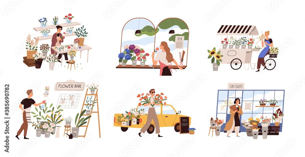 Fototapeta Set of people work at florist shop or store. Woman compose bouquet on table, man spray, hold, carry fresh flowers from car. Floristry handicraft on white. Flat vector cartoon isolated illustration