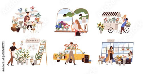 Obraz Set of people work at florist shop or store. Woman compose bouquet on table, man spray, hold, carry fresh flowers from car. Floristry handicraft on white. Flat vector cartoon isolated illustration - fototapety do salonu
