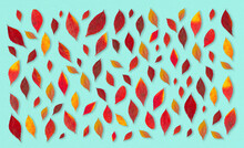 Beautiful Autumn Pattern With Small Red Leaves On Tuquoise Background.