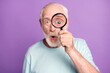 canvas print picture - Close-up portrait of shocked funny grey beard hair pensioner watching through loupe isolated over purple background