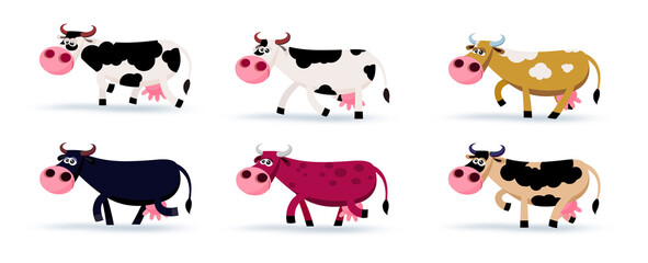 Six different colours cows cartoon illustration. Cow x 6 – 2 spotty, red, black, yellow, brown.